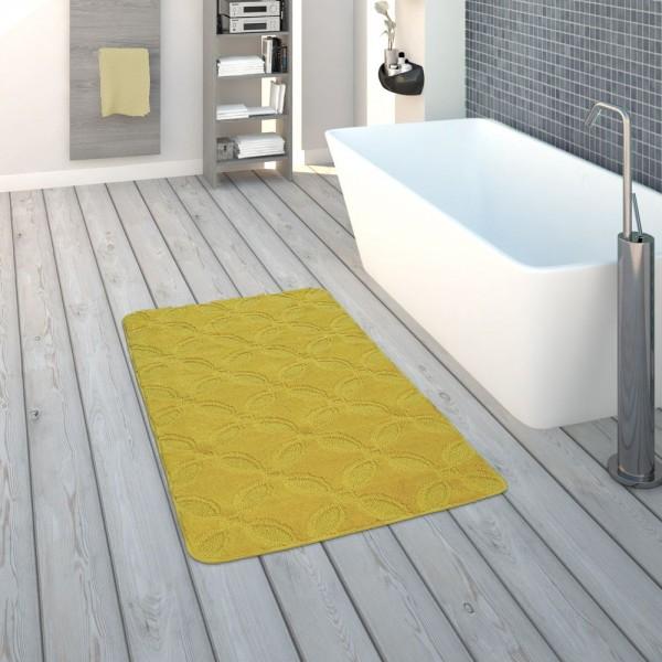 Badematte, Kurzflor-Teppich Für Badezimmer Einfarbig Rutschfest, In Gelb