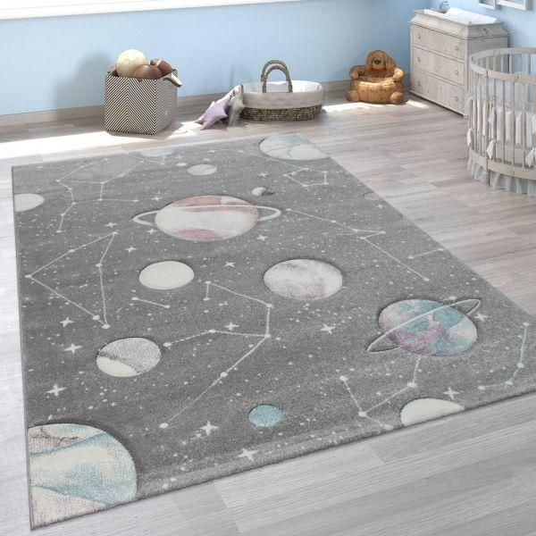 Kinder-Teppich, Spiel-Teppich Mit Planeten Und Sternen, Für Kinderzimmer In Grau