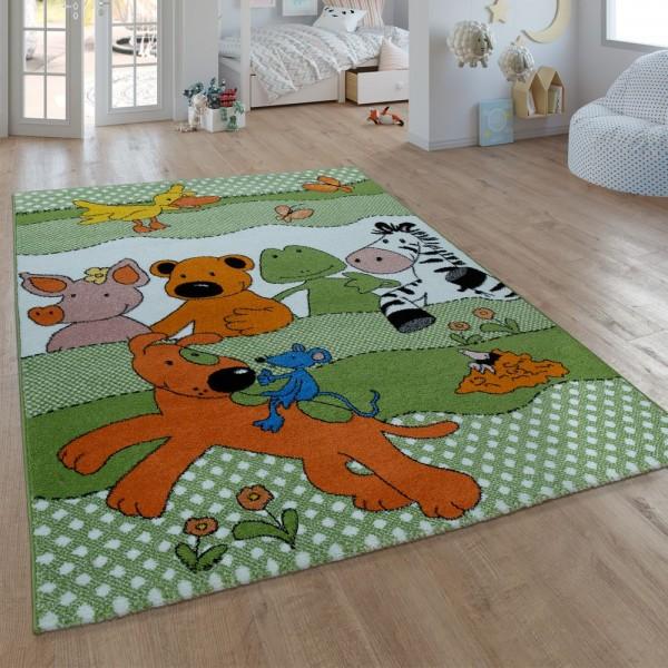 Kinder-Teppich, Kurzflor Für Kinderzimmer, Mit Sieben-Lieben-Motiv, In Grün