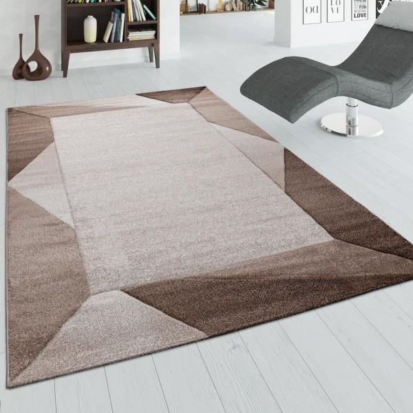 Wohnzimmer-Teppich, Kurzflor-Teppich Mit Bordüre und 3-D-Effekt, In Beige Braun