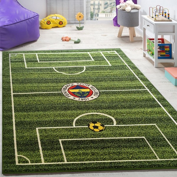 Kinderteppich Kinderzimmer Fußball Teppiche Fußballplatz Bedrucktes Muster Grün