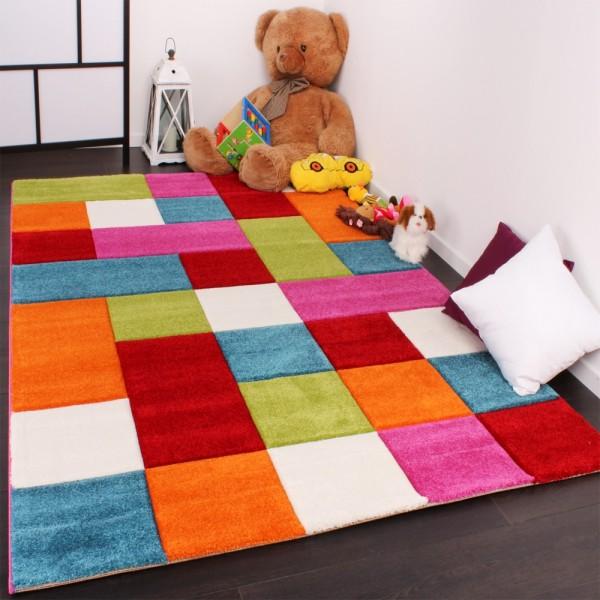 Kinder Teppich Karo Design Multicolour Grün Rot Grau Schwarz Creme Pink