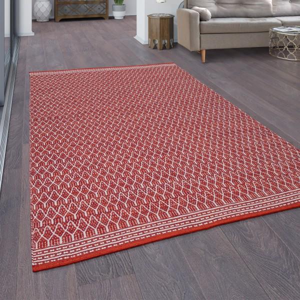 Tapis En Coton Réversible Design Oriental Blanc Rouge