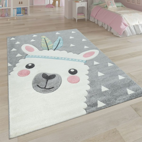 Teppich Kinderzimmer Grau 3-D Motiv Alpaka Design Pastellfarben Weich Robust