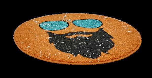 Runder Kurzflor Teppich Graphisches Muster Orange