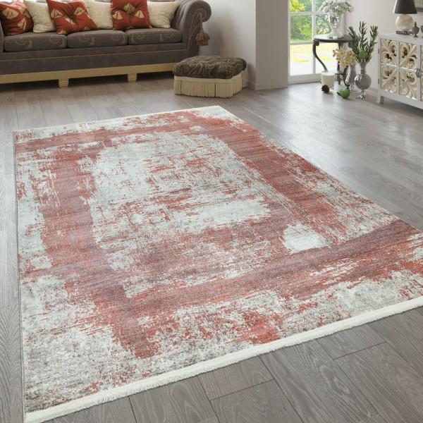 Kurzflor Teppich Rot Beige Wohnzimmer Abstraktes Karo Design Used Look Viereck