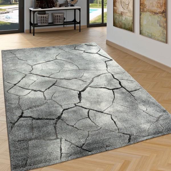 Edler Designer Teppich Wohnzimmer Hoch Tief Effekt Steinoptik Modern Grau