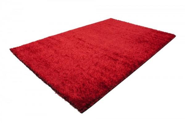 Moderner Hochflor Teppich Einfarbig Rot