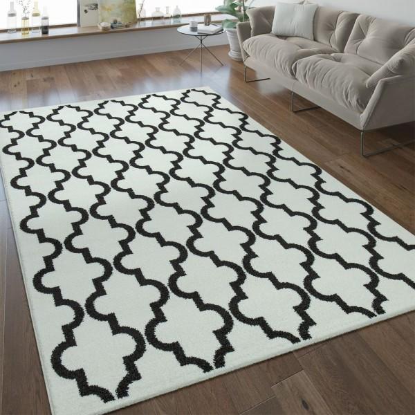 Modern Kurzflor Teppich Marokkanisches Design Weiß