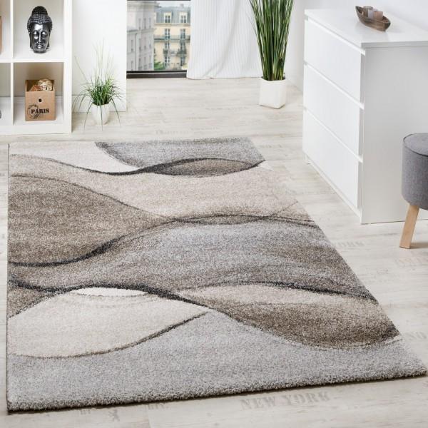 Teppich Meliert Webteppich Hochwertig Wellen Optik Meliert Grau Beige Creme