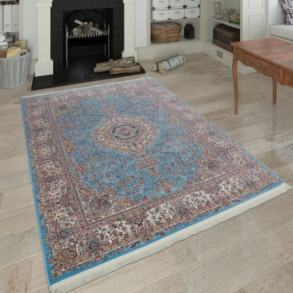 Orientalischer Polyacryl Teppich Ornamente Beige Blau