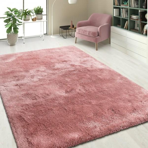 Handgetuftet Hochflorteppich Einfarbig Pink