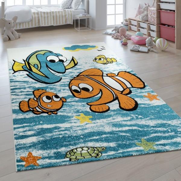 Kinderteppich 3D Effekt Findet Nemo Fische Blau