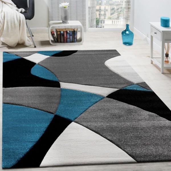 Designer Teppich Modern Geometrische Muster Konturenschnitt In Türkis Grau Schwarz