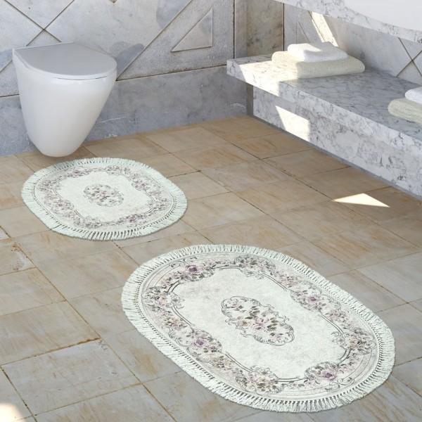 Badezimmer Teppich Set Ornamente Waschbar Gemütlich Badvorleger In Altrosa Creme