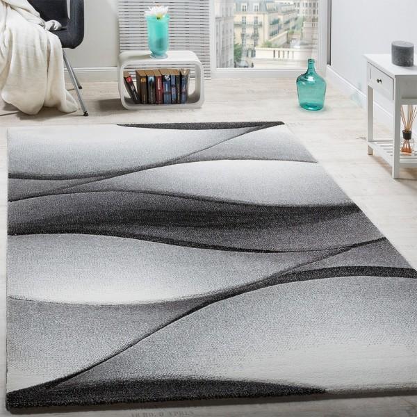 Designer Teppich Modern Abstrakt Wellen Optik Konturenschnitt In Grau Anthrazit