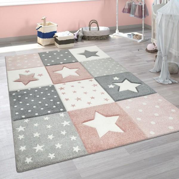 Kinderzimmer Teppich Rosa Grau Pastellfarben Karo Muster Sterne Punkte Design