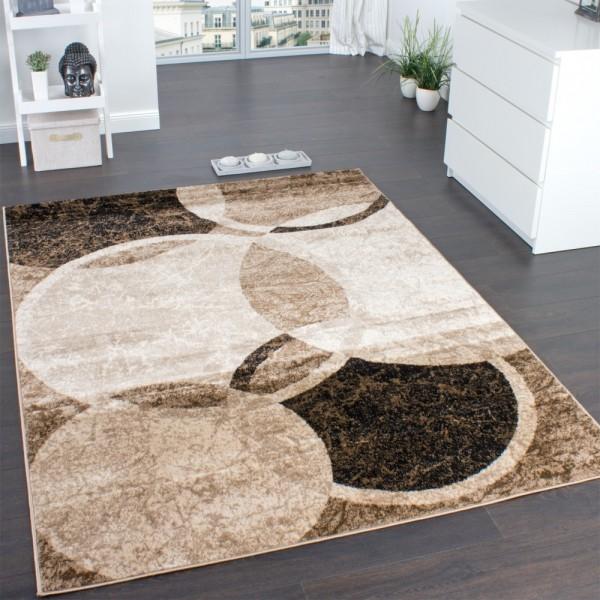Designer Teppich Wohnzimmer Teppich Kreis Muster in Braun Beige Preishammer