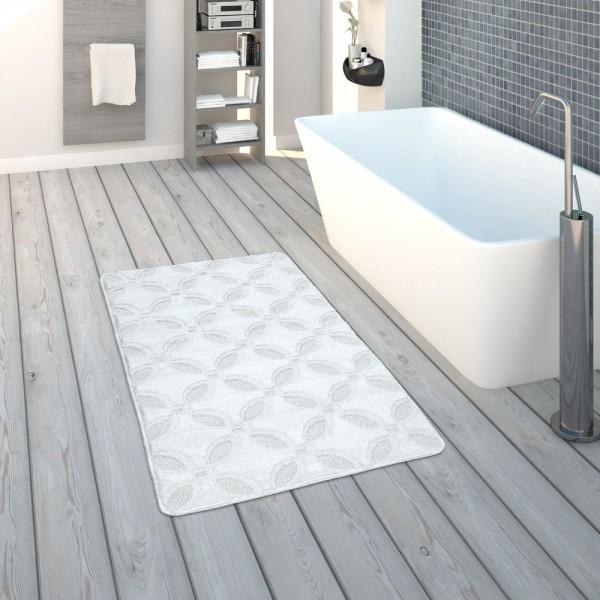 Badematte, Kurzflor-Teppich Für Badezimmer Einfarbig Rutschfest, In Weiß