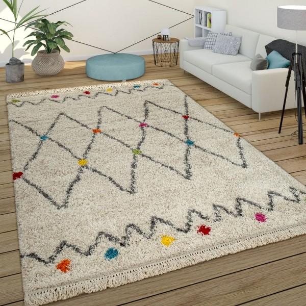 Teppich Bunt Beige Shaggy Flauschig Ethno Design Hochflor Punkte Rauten Muster