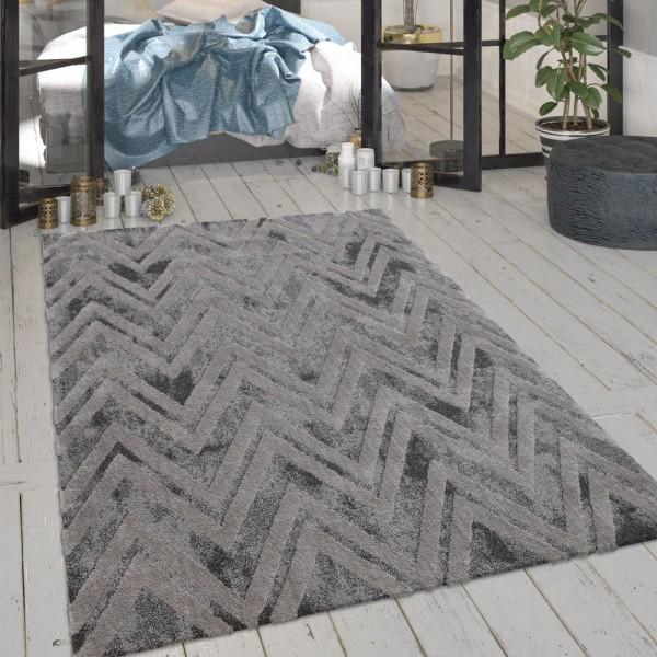 Wohnzimmer-Teppich, Kurzflor Mit Zickzack-Muster Und Glanz-Effekt In Grau