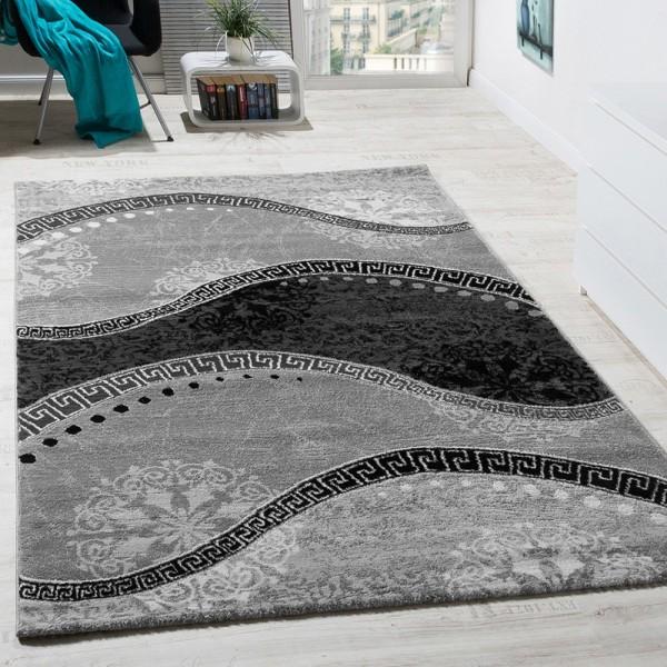 Designer Teppich Klassische Wellen Mit Ornamente Grau AUSVERKAUF