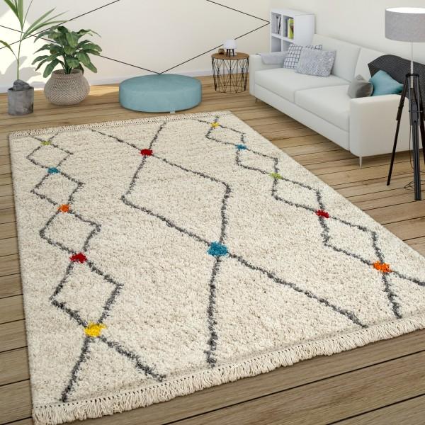 Hoogpolig tapijt ruitpatroon crème