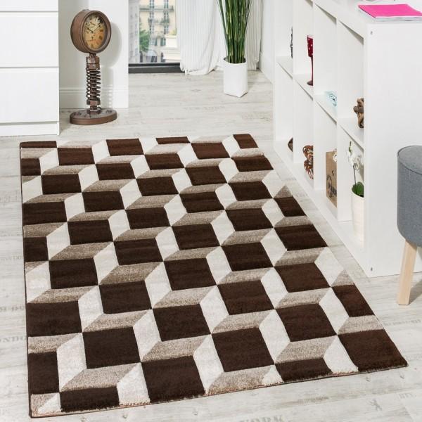 Wohnzimmer Teppich Geo Design Würfel Muster Braun Creme Ausverkauf