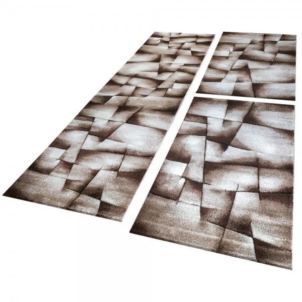 Läufer Set Geometrisch Braun Beige
