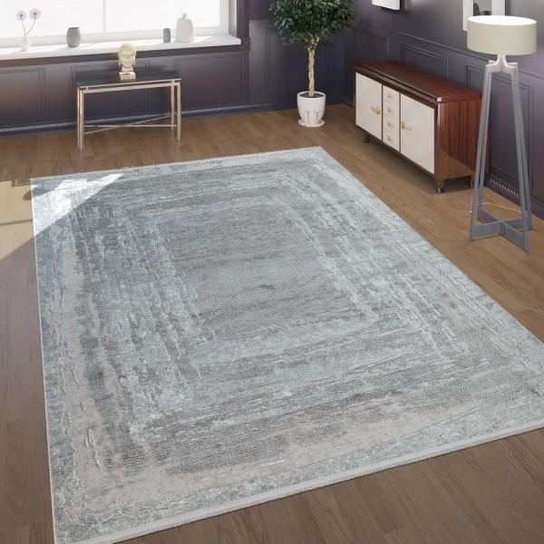 Morderner Kurzflor Wohnzimmer Teppich Im Antiken Orient Muster In Grau