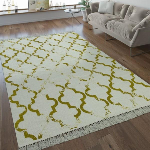 Flachgewebe Teppich Marokkanisches Muster Gelb