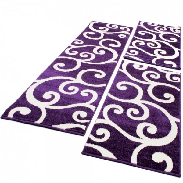 Bedroom Runners - Swirl - Purple Cream