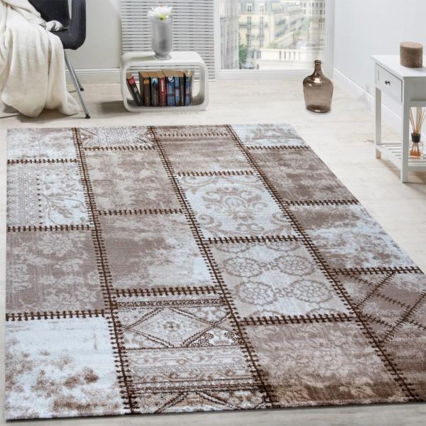 Designer Teppich Modern Ornamente Mit Rechtecken Abstrakt Meliert In Beige Braun
