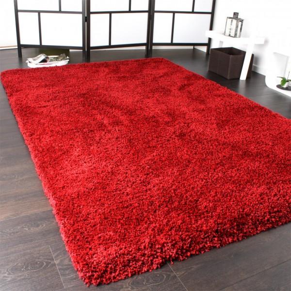 Hochflor Shaggy Teppich Langflor Pflegeleicht Einfarbig Teppich Rot