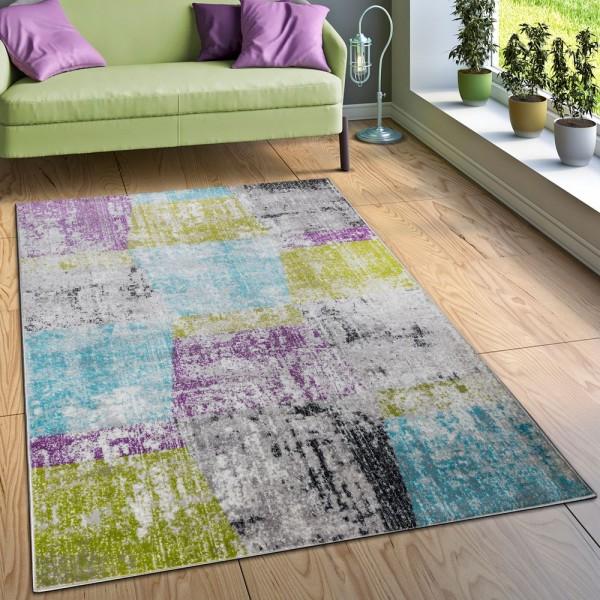 Designer Teppich Wohnzimmer Ausgefallene Farbkombination Karo Mehrfarbig