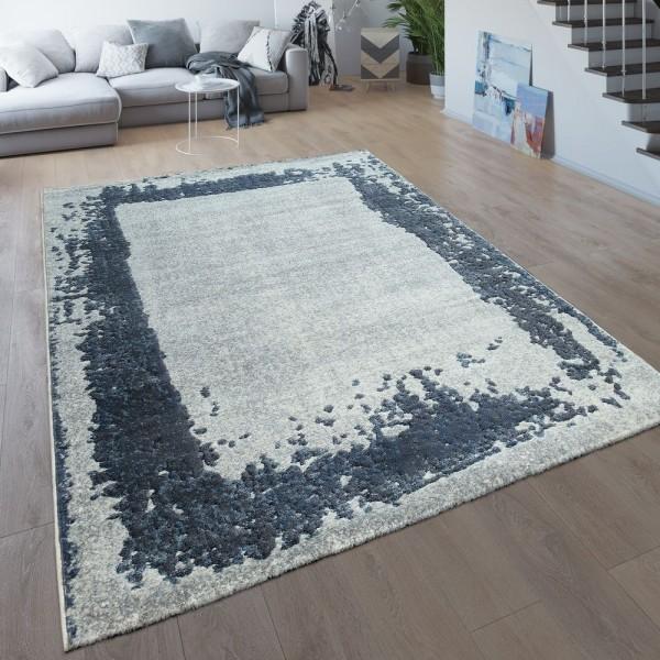 Wohnzimmer-Teppich, Kurzflor Mit Moderner Bordüre, Meliert In Grau Und Blau