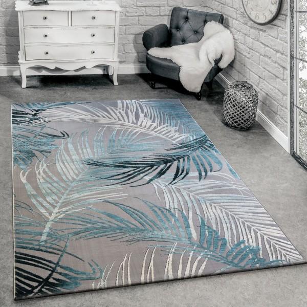 Designer Teppich Modern Wohnzimmer Teppiche 3D Palmen Muster In Grau Türkis Creme