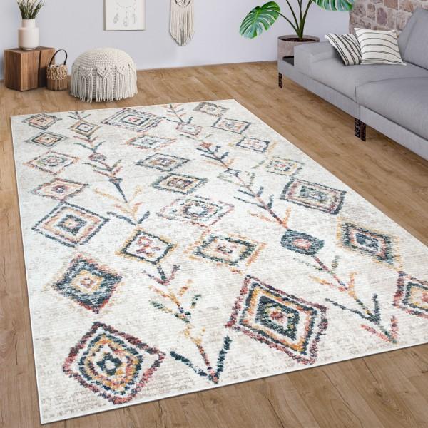 Teppich Wohnzimmer Kurzflor Vintage Ethno Muster