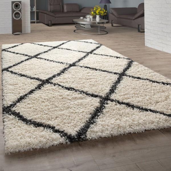 Hochflor-Teppich, Shaggy Für Wohnzimmer, Skandi-Design U. Rauten-Muster In Beige