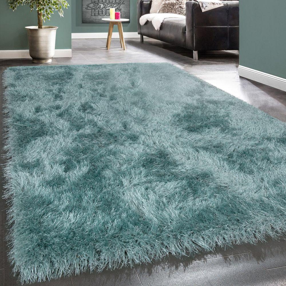 Shaggy-Teppich Hochflor Wohnzimmer Einfarbig