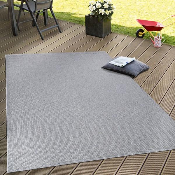 In- & Outdoor Flachgewebe Teppich Terrassen Teppiche Natürlicher Look In Grau