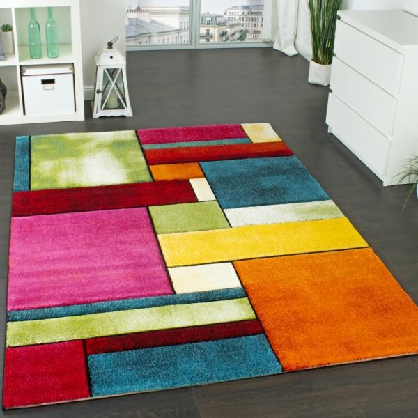 Designer Teppich Kariert Trendig Bunt Meliert Eyecatcher Grün Blau Orange Pink