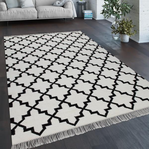 Teppich Wohnzimmer Geometr. Orient Muster Handgewebt
