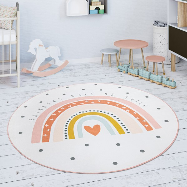 Kinderteppich Teppich Regenbogen Herz Motiv