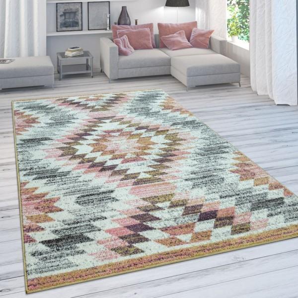 Wohnzimmer-Teppich, Moderner Kurzflor Mit Rauten-Design, In Bunten Pastellfarben