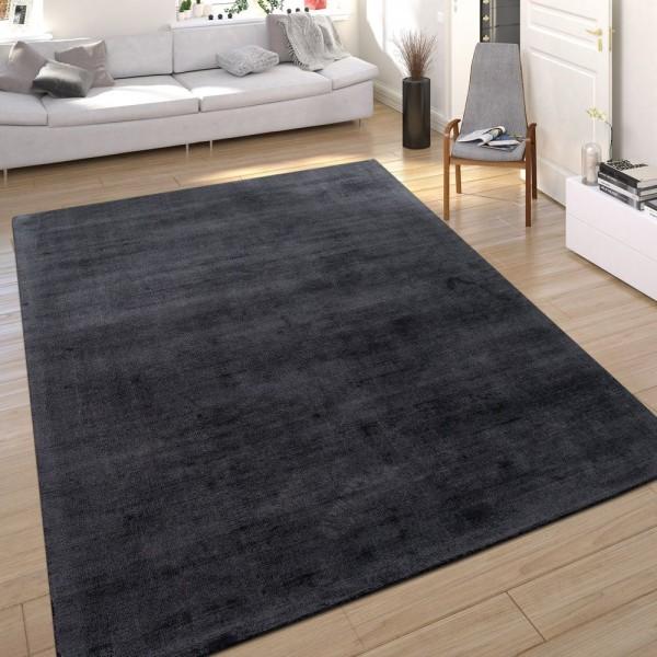 Teppich Seidenoptik Anthrazit Handgefertigt