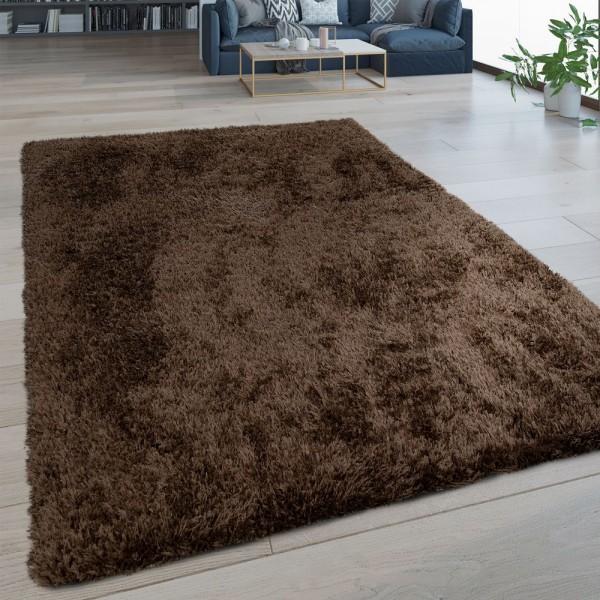 Hochflor Wohnzimmer Teppich Waschbar Shaggy Flokati Optik Einfarbig In Braun