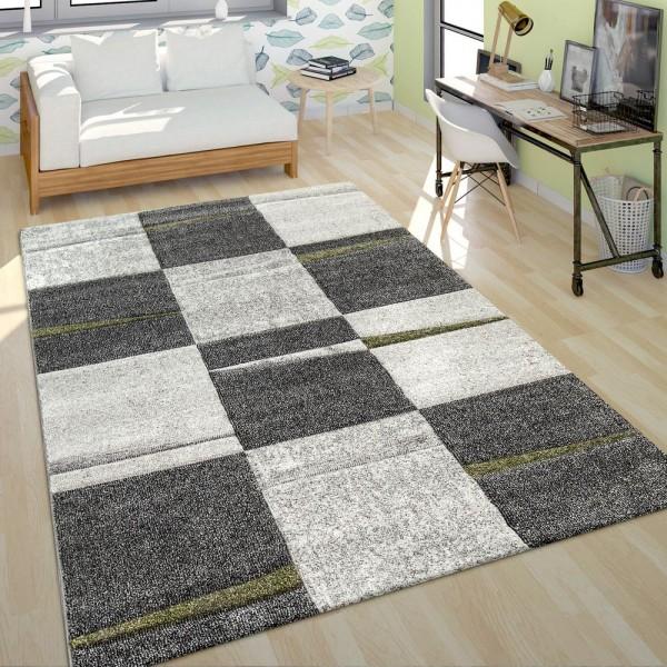 Moderner Kurzflor Teppich Wohnzimmer Design Mehrfarbig Kariert Akzente Grün