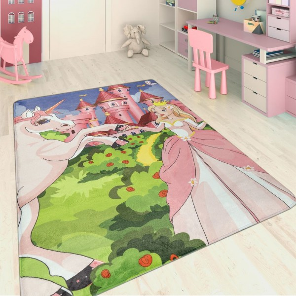 Kinderteppich Prinzessinnen Schloss Einhorn Multicolor
