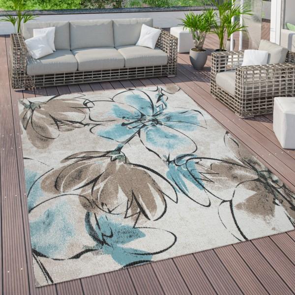 Tapis D'Extérieur Terrasse Balcon Motif fleurs